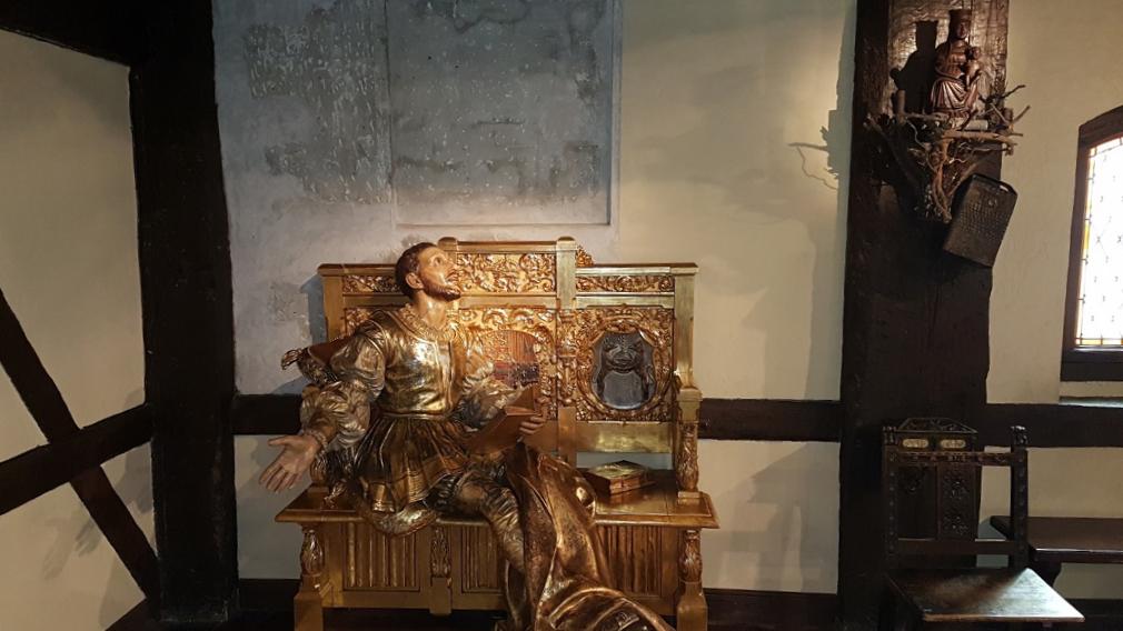 Statue of Ignatius of Loyola in his bedroom